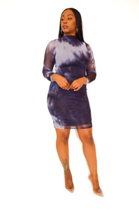 Watercolor Ruched Mini Dress (Black) - FINAL SALE