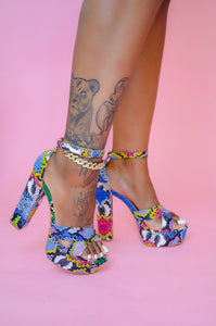 Multi Snake Print Platform Heel - FINAL SALE