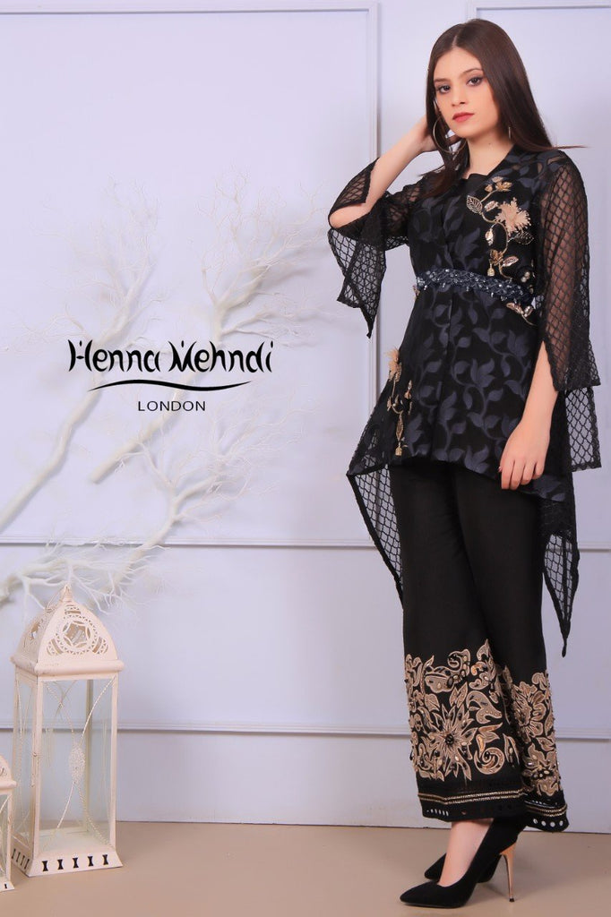 Black Metal Accessories Embroidered Jacket & Embroidered Trouser Outfit