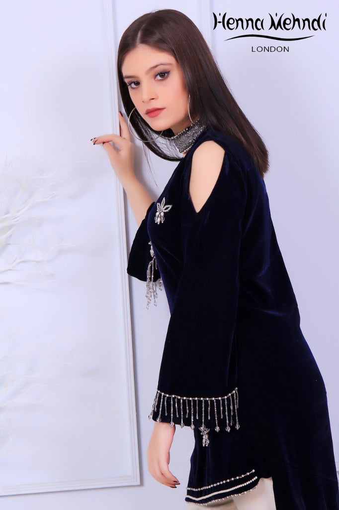 Black Velvet Pearl & Diamante Embroidered Outfit
