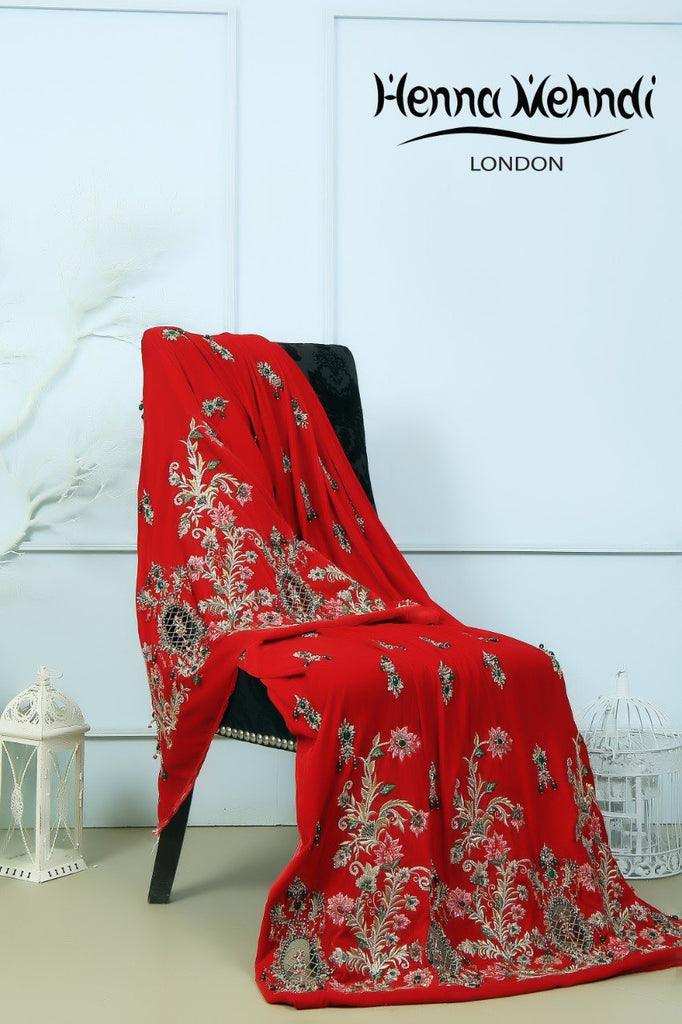 Red Velvet Embroidered Shawl