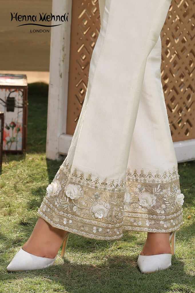 Ivory Embroidered & Embellished Trousers