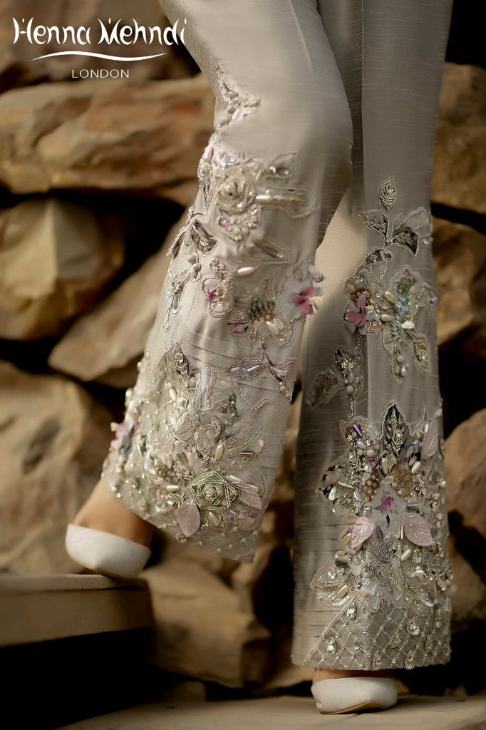 Grey Diamante Embroidered Trousers