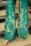 Teal Diamante & Embellished Embroidered Trousers