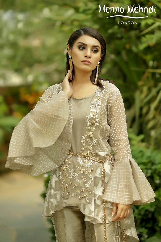 Beige Pearl & Crystal Embroidered Wrap