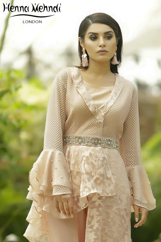 Pink Pearl & Crystal Embroidered Peplum Top