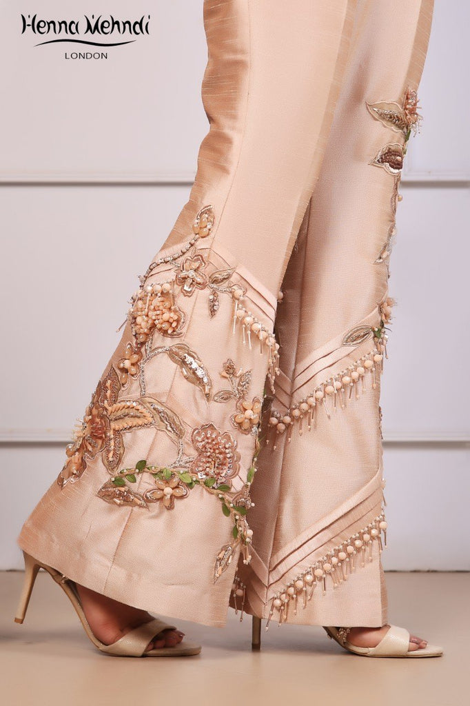 Peach Embroidered & 3D Embellished Trousers