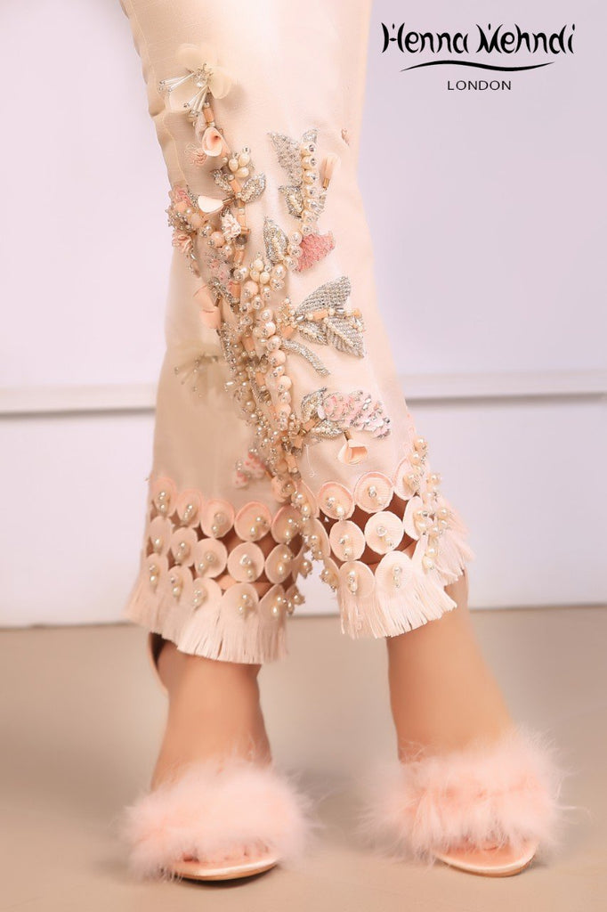 Ivory Embroidered & 3D Embellished Trousers