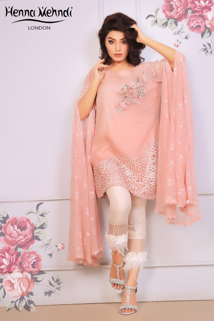 Pink 3D Embroidered & Embellished Outfit