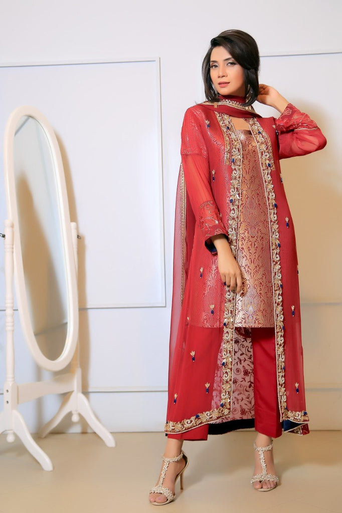 Maroon Diamante Embroidered Gown Outfit