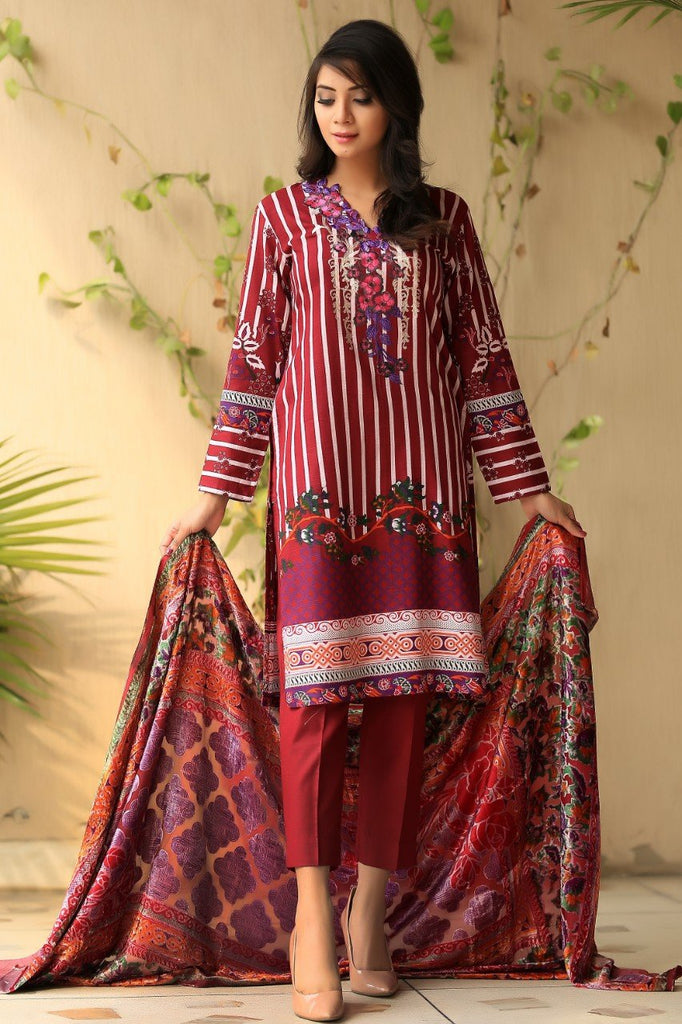 Maroon Embroidered & Printed Khadder Outfit