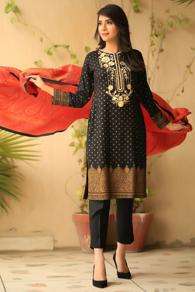 Black Embroidered & Printed Linen Outfit