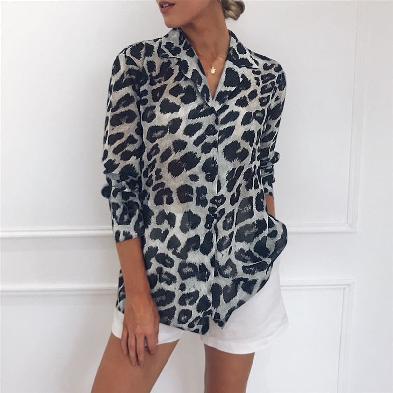 871215f4 ... Load image into Gallery viewer, Chiffon Blouse Long Sleeve Sexy Leopard  Print Blouse Turn Down ...