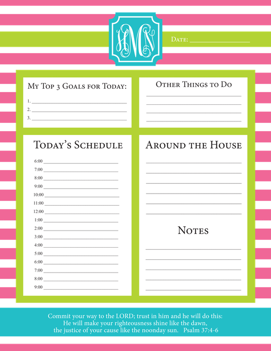 Daily Schedule Notepads-Notepad-The Write Choice
