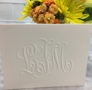 photograph about Embossed Stationery named Henley Grand Monogram Take note - Embossed