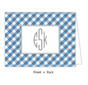 Blue Gingham Folded Note-Stationery-The Write Choice