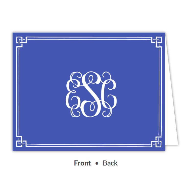 Classic Border Cobalt Folded Note-Stationery-The Write Choice