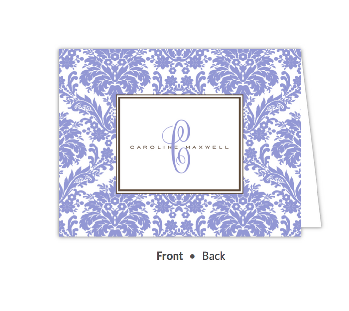 Damask Periwinkle Folded Note-Stationery-The Write Choice