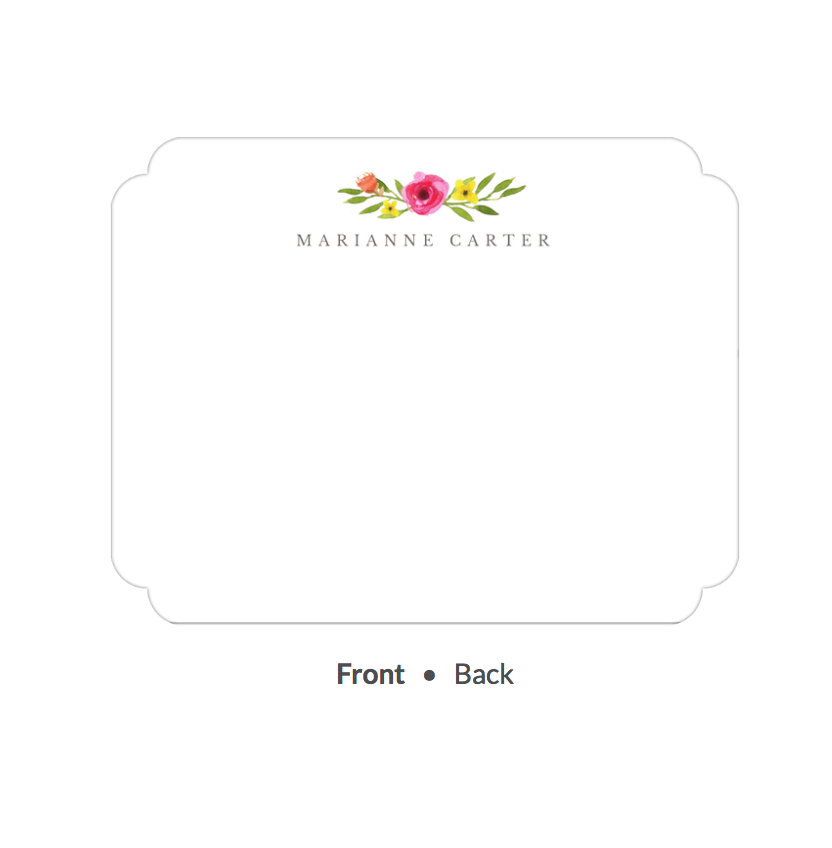 Floral Motif Flat Note-Stationery-The Write Choice