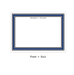 Navy & Black Borders Flat Note-Stationery-The Write Choice