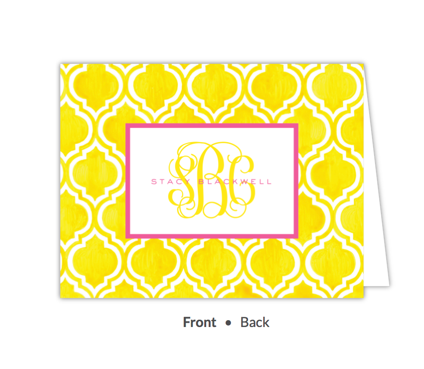 Turkish Tile - Yellow Folded Note-Stationery-The Write Choice