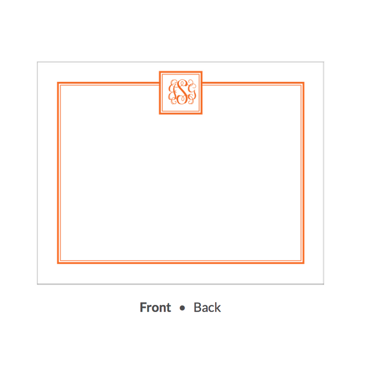 Tailored Monogram Tangerine Flat Note-Stationery-The Write Choice