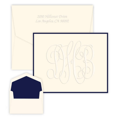 Henley Grand Monogram Note - Embossed-Stationery-The Write Choice
