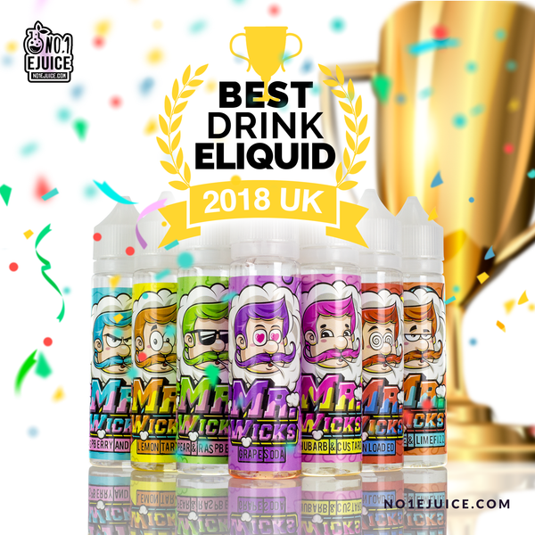 Congrats to Mr Wicks for BEST Drink E-Liquid 2018 Award 50ml £9.95 or 2 for £15