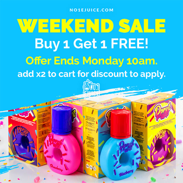 £11.95 Buy 1 Get 1 Free Flash Sale - Donut Puff 50ml - Offer Ends Monday 10am | New Arrival - Froot E-Liquid - Dr Vapes Salts - IVG Salts - Zeus