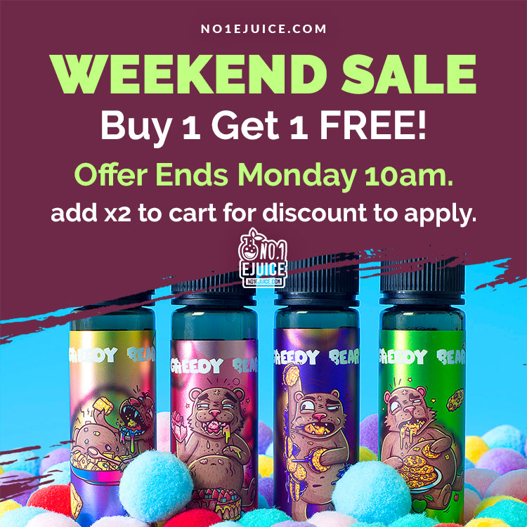 £14.95 Greedy Bear 50ml Buy 1 get 1 FREE - Add x2 to cart for discount to apply! - MoMo 50ml Glass Bottles SALE - MOJO Disposable Kits - My Man