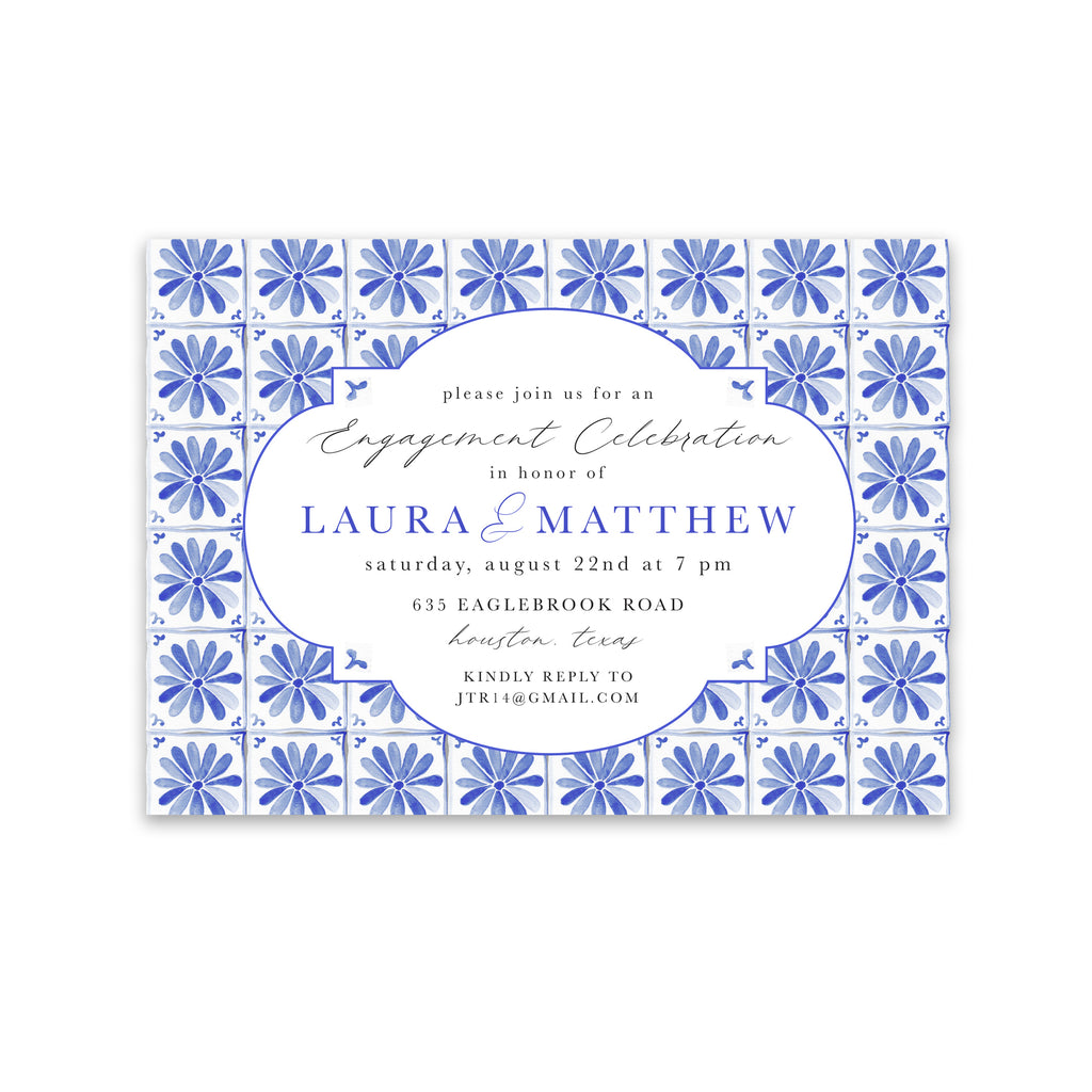 Blue Tile Shower Invitation