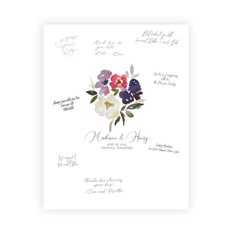 Custom Bouquet Wedding Guest Book Alternative