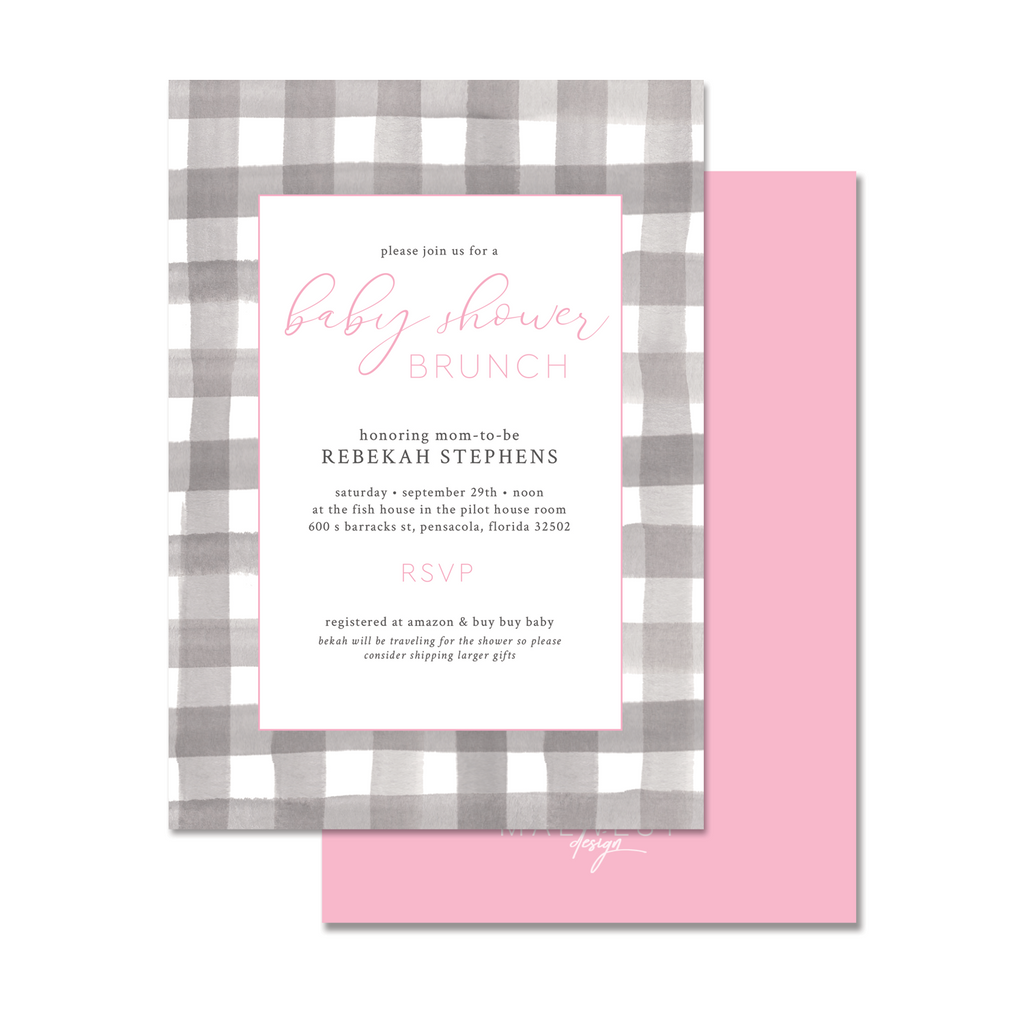 Buffalo Pink Invitation