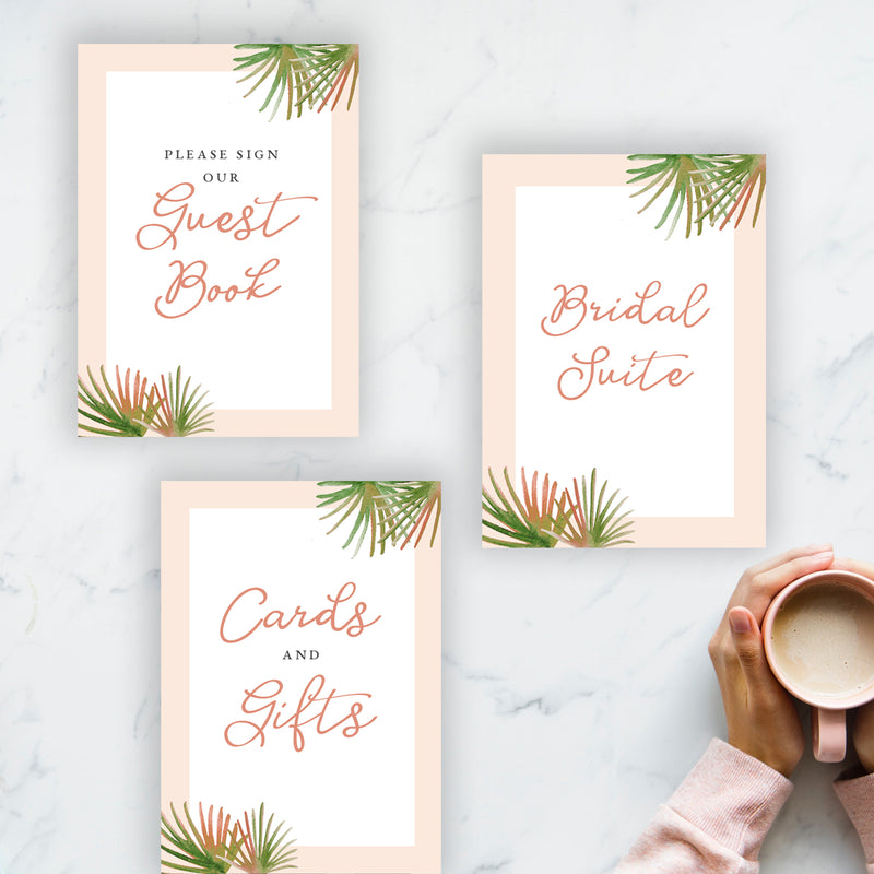 Coral Palm Tabletop Signs