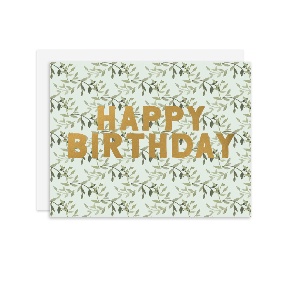 Happy Birthday Leaves - A2 notecard