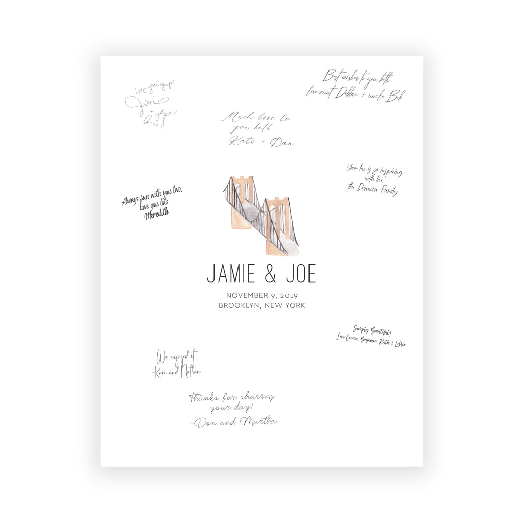 Custom Location Wedding Guest Book Alternative