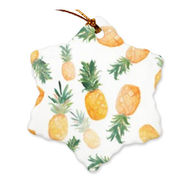 Falling Pineapple Ceramic Snowflake Ornament