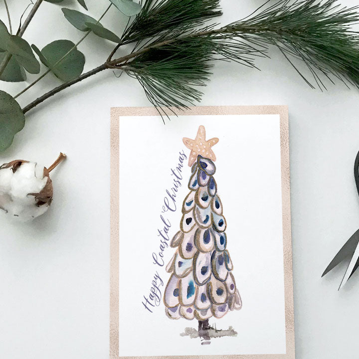 Oyster Christmas Tree - A2 notecard