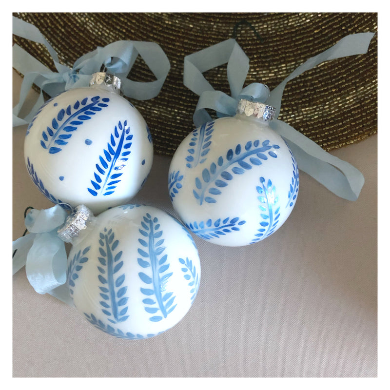 Hand Painted Blue Ornament: blue leaves 3