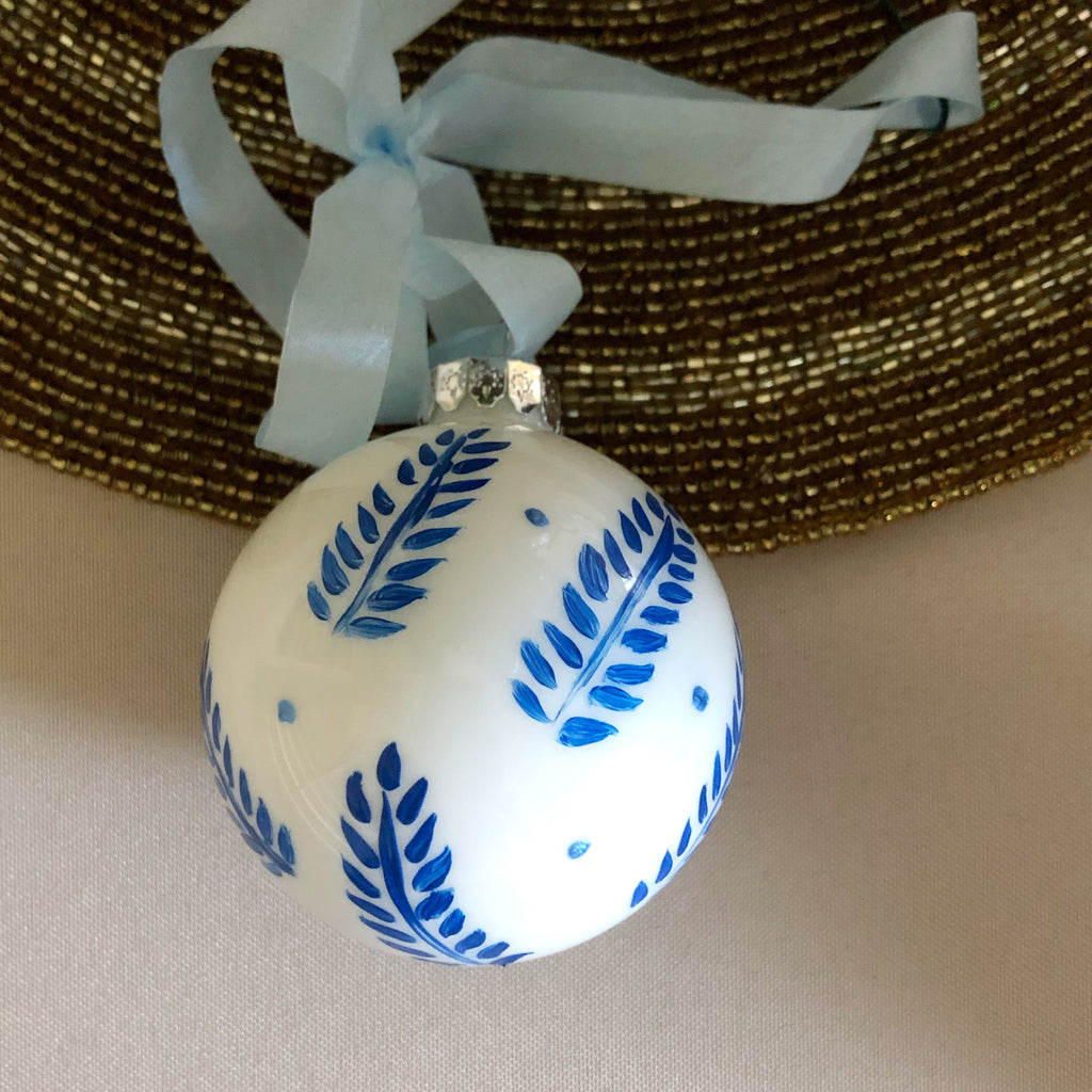 Hand Painted Blue Ornament: blue leaves 2