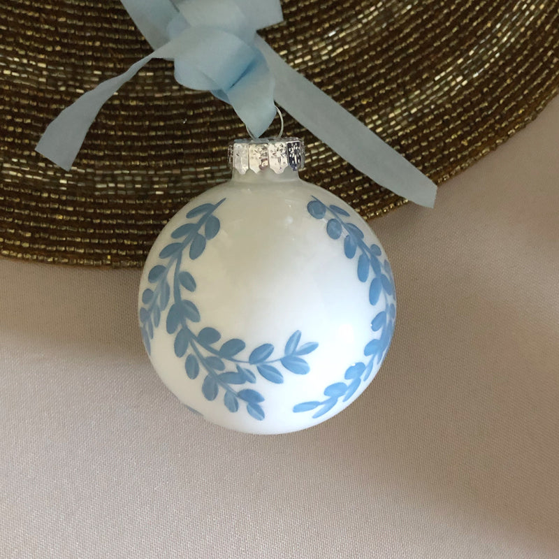 Hand Painted Blue Ornament: blue vines 1