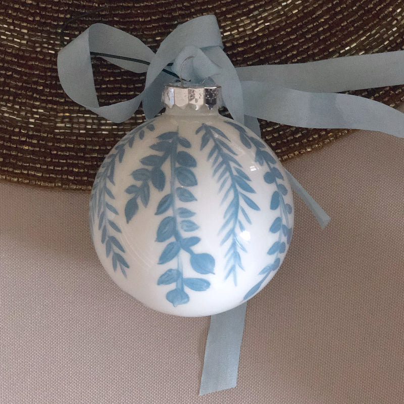 Hand Painted Blue Ornament: blue vines 2