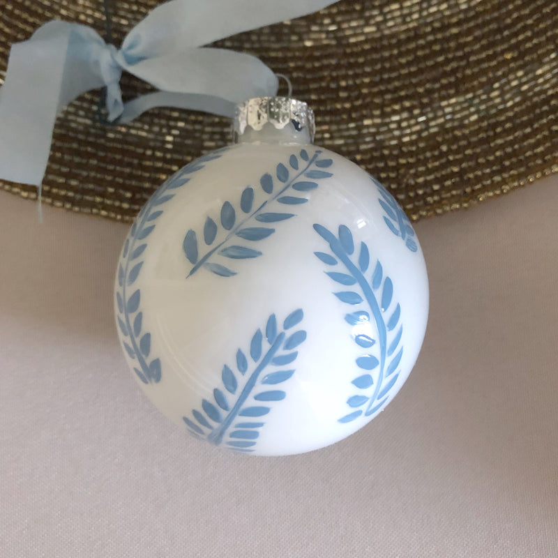 Hand Painted Blue Ornament: blue leaves 1