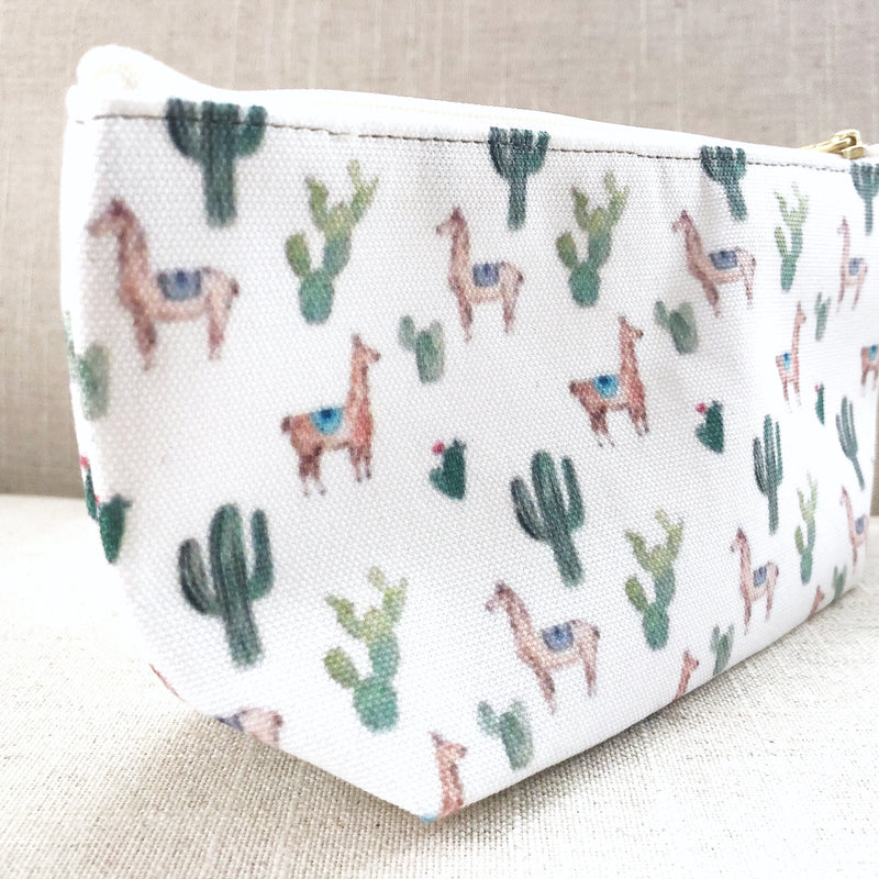 Llama and Cacti print Accessory Pouch