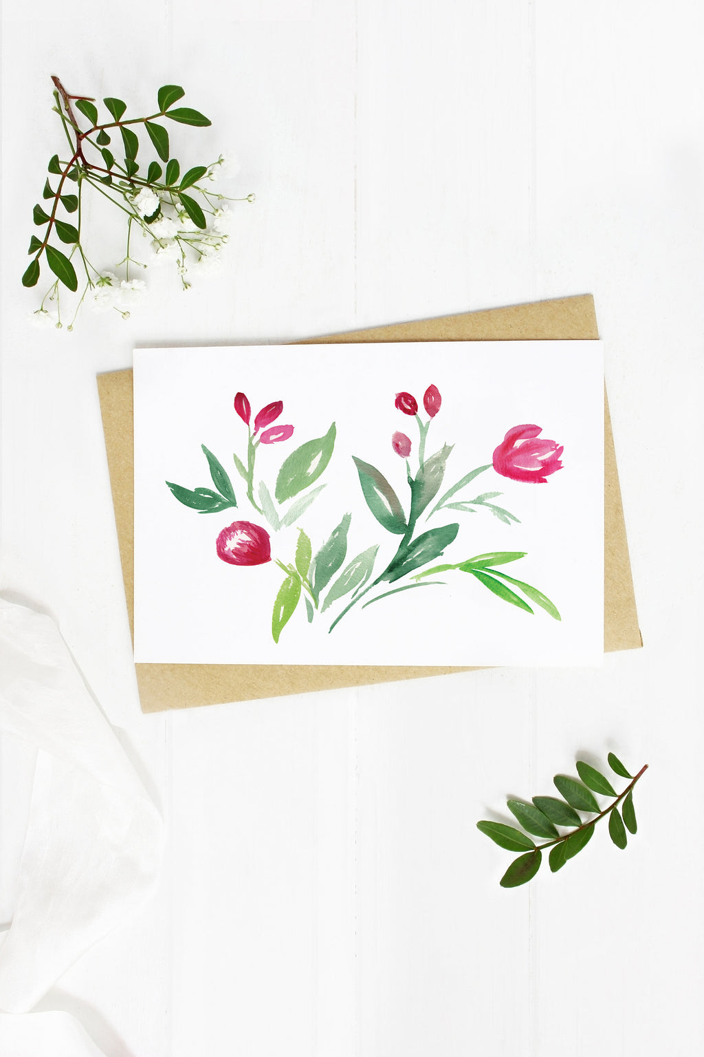 Red Floral - A2 note card