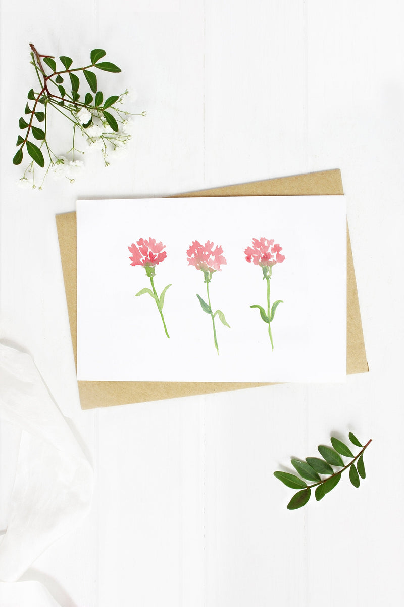 Pink Carnations - A2 note card