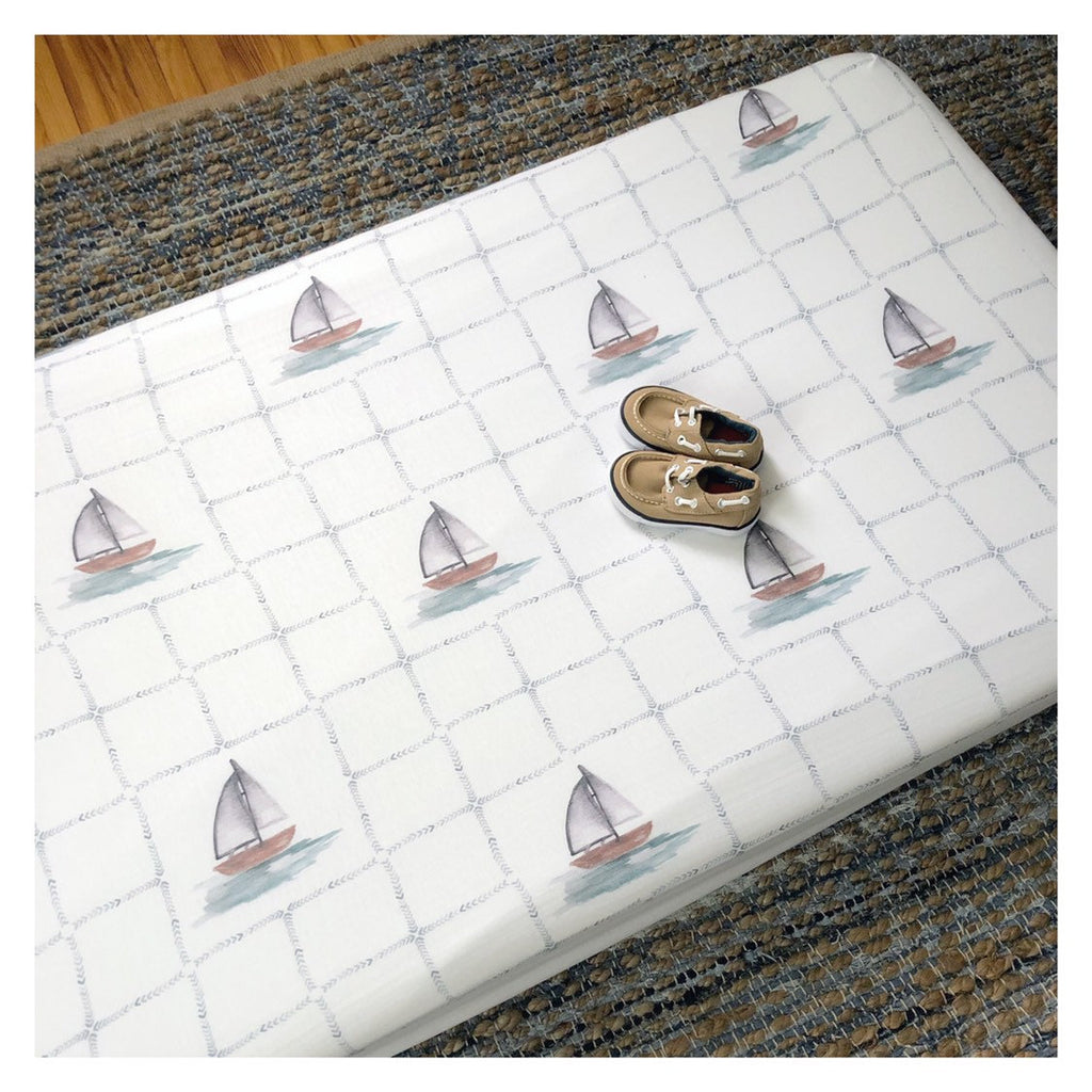 Sailboat Print | Crib Sheet (fitted)