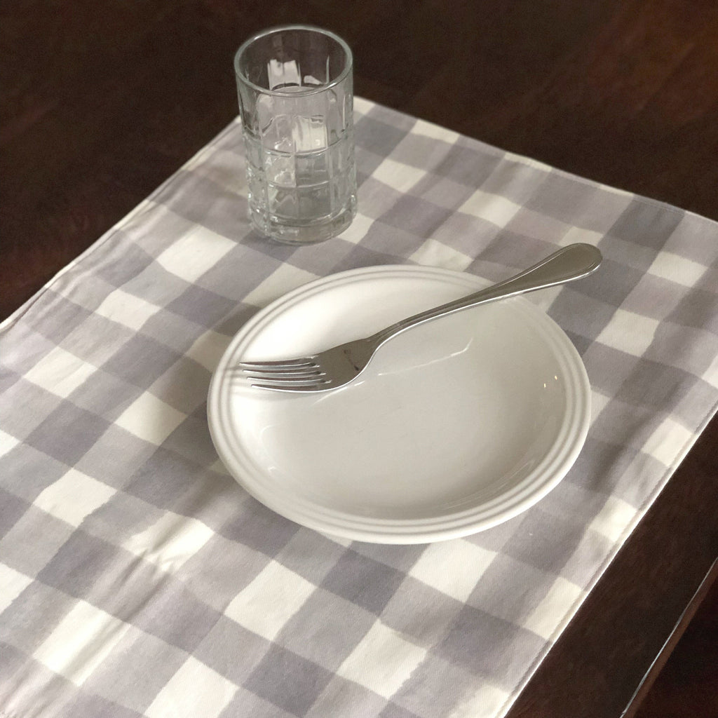 Woven Placemats | Gingham Grey
