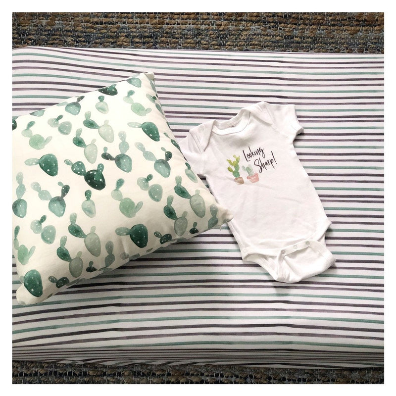 Green stripe Print | Crib Sheet (fitted)