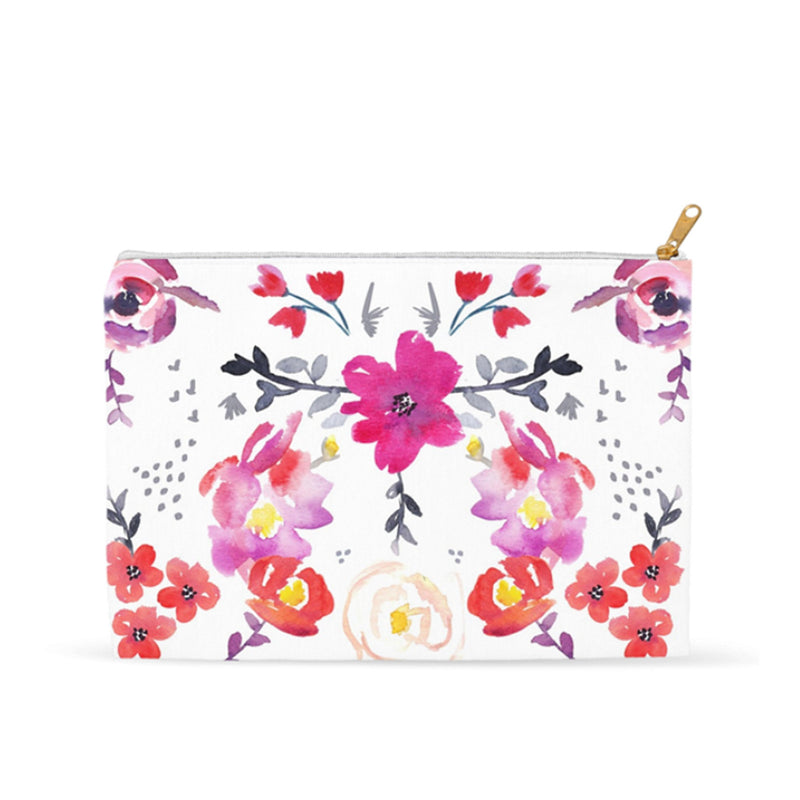 Pink Floral Accessory Pouch